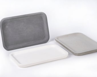 Concrete tray / dish / coaster / accessory holder in Rectangle shape