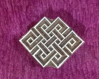 Hand carved Indian wood stamp, pottery stamps, textile stamps, handcarved wooden block, tjaps, batik stamps - Celtic knot