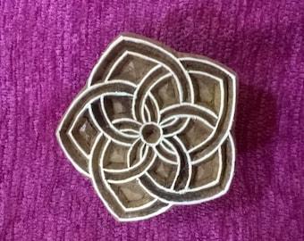 Celtic knot indian wood stamp, pottery stamps, textile stamps, handcarved wooden block, tjaps, batik stamps
