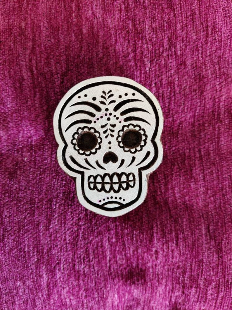 tjaps sugar skull Indian wooden hand carved wood block stamp pottery stamps textile stamps fabric stamps