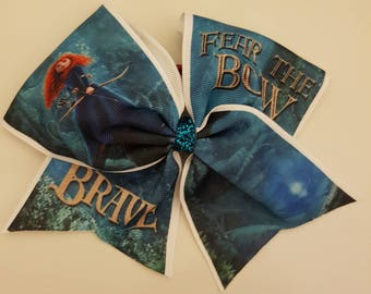 "Disney Princess Brave inspired  Large 7"" Cheerleader bow  girls hair accessories girls hair elastic Cheer bow"