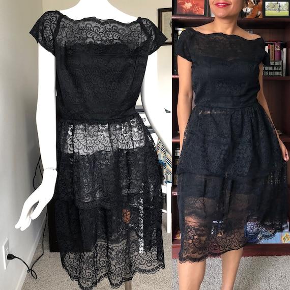 VINTAGE 1950s Black Lace dress- Very DIOR like!