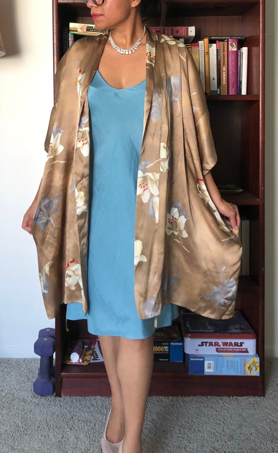 NWT Vtg Lingerie Cacique Floral SILK robe! (L)