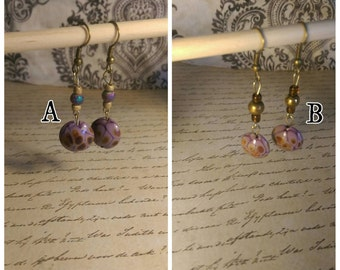 Magnificent Violet glass bead earrings: 2 colors available