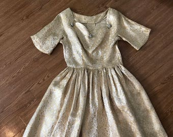 1950s gold and silver tinsel dress