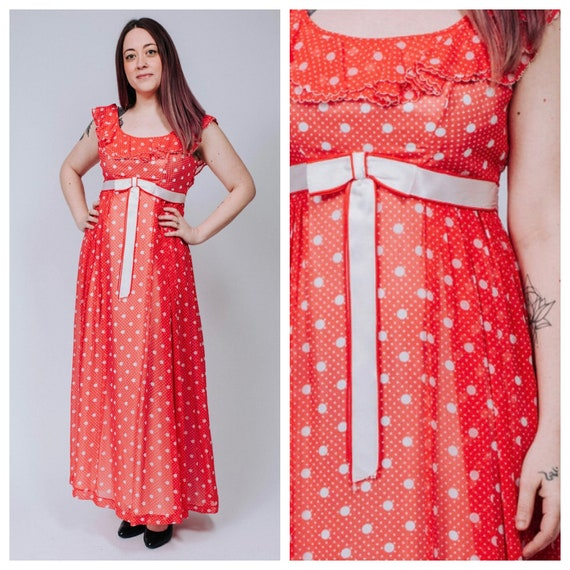 1960s red and white polka dot maxi dress