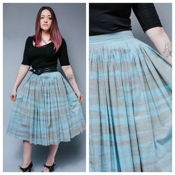 1950s cotton blue aqua print full skirt