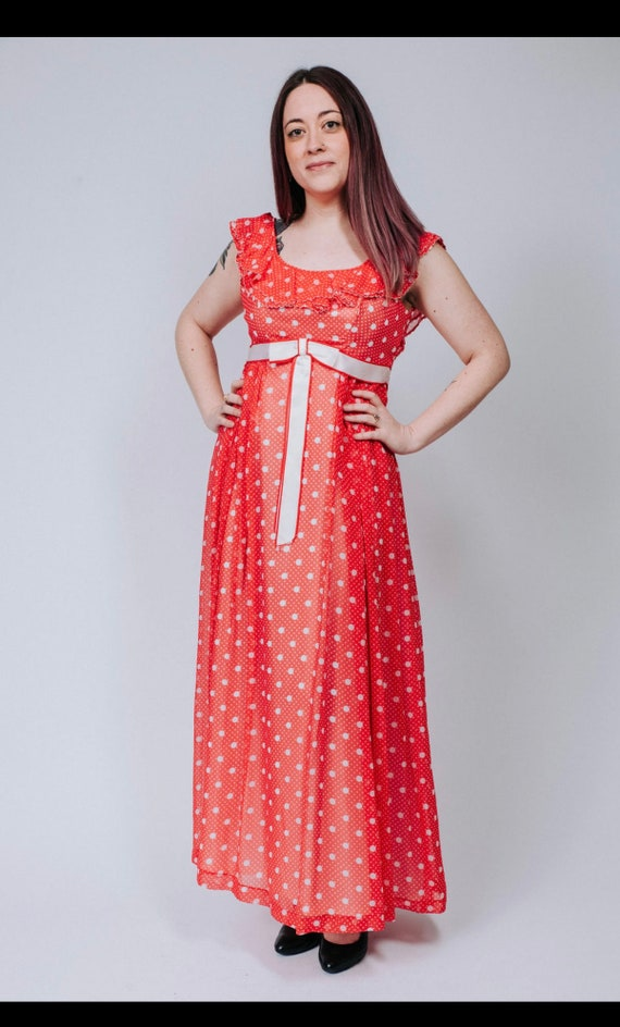 1960s red and white polka dot maxi dress - image 3