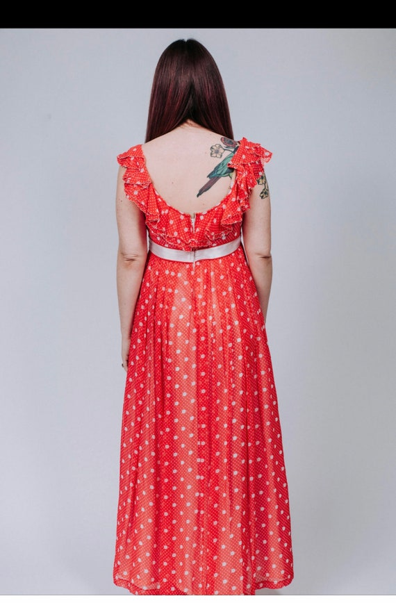 1960s red and white polka dot maxi dress - image 6