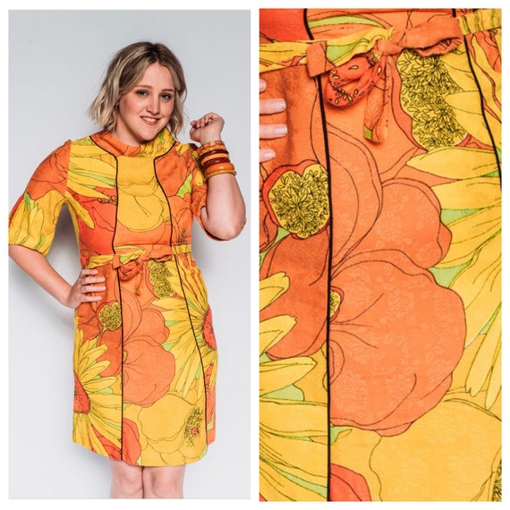 1960s flower power dress