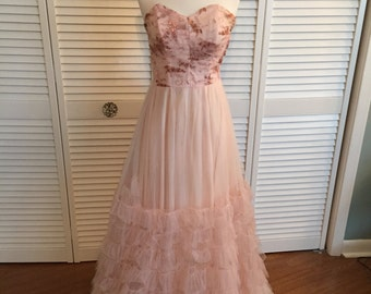 1950s pink Emma Domb tulle formal gown