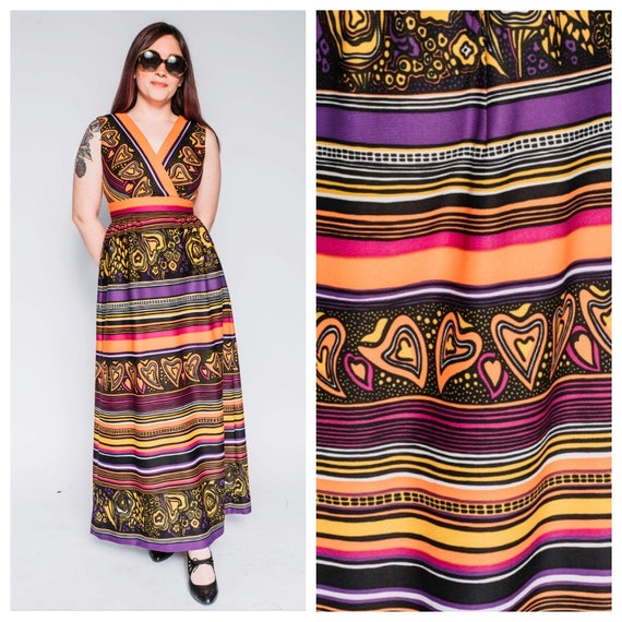 1960s psychedelic polyester maxi dress
