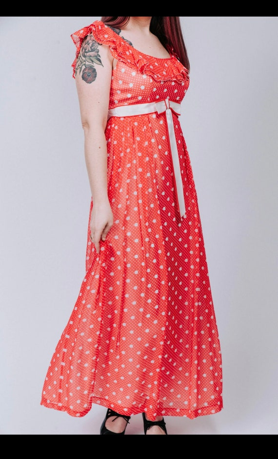 1960s red and white polka dot maxi dress - image 4