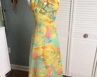 1960s floral halter maxi dress