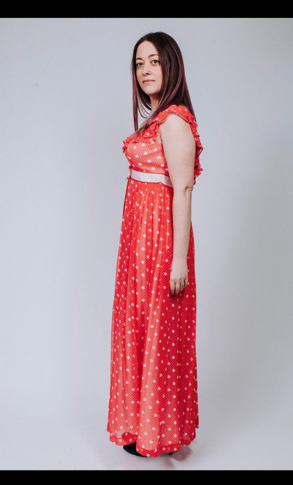 1960s red and white polka dot maxi dress - image 5