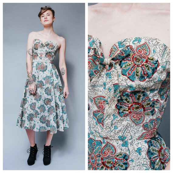 1950s paisley sequined full circle skirt dress