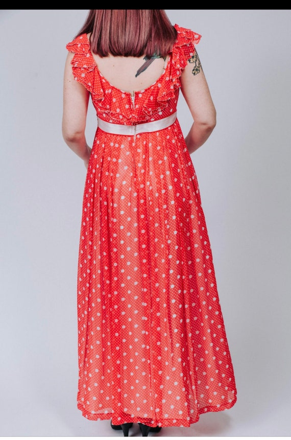 1960s red and white polka dot maxi dress - image 7