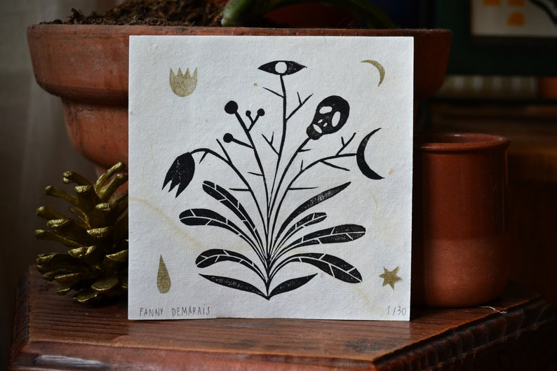 Linocut Deadly Plant Black and Gold image 0