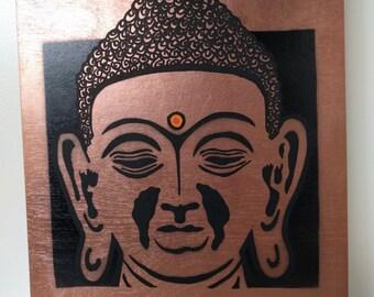 Metallic Buddha Stencil Art (hand carved stencil, spray paint, acrylic details)