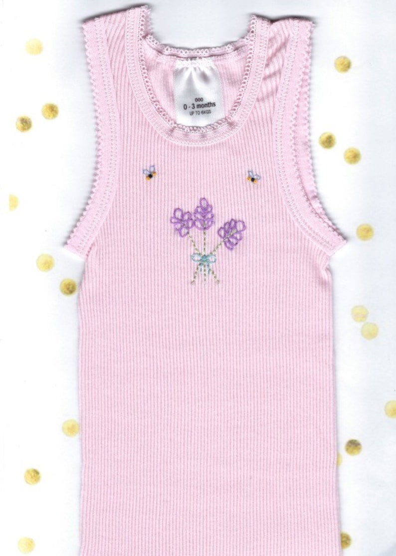 d17925f895a8 Embroidered Baby Singlet Purple Lavender Flower Pink Baby