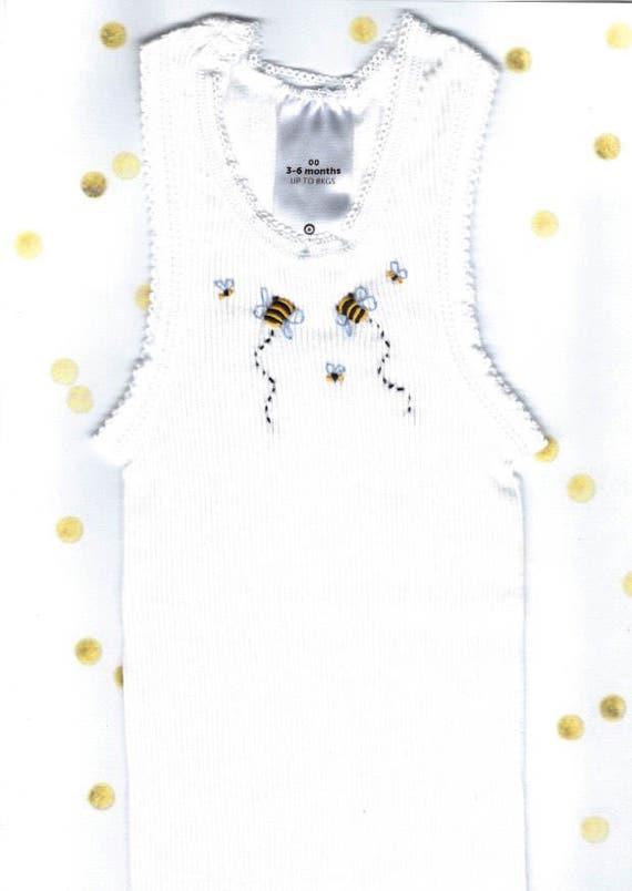 072f6584b6dd Baby Singlet Bee Baby Vest Newborn Gift Hand Embroidered