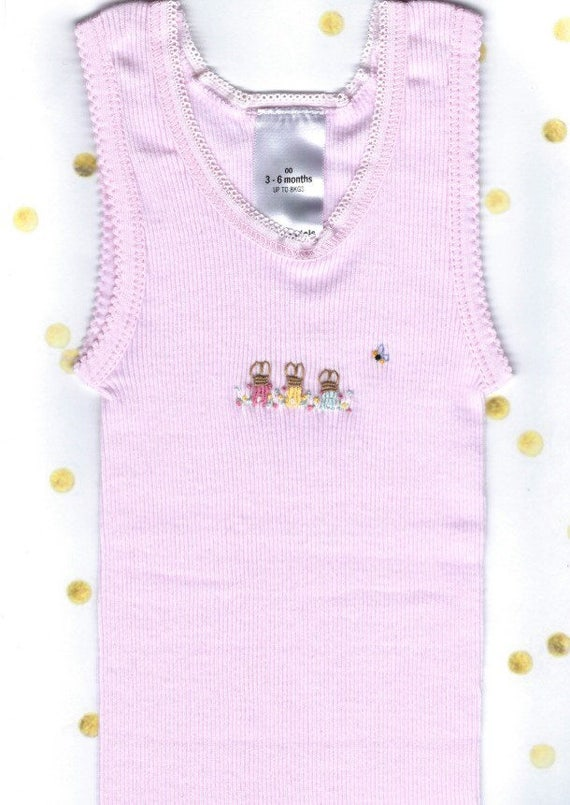 bb0db2f5e7a6 Embroidered Pink Bunny Rabbit Baby Singlet