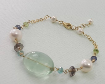 "Gorgeous Green Flourite Bracelet Peridot Iolite Smoky Quartz Freshwater Pearl Sterling Silver Yellow Gold Plating 7""+1"" Wholesale Price"