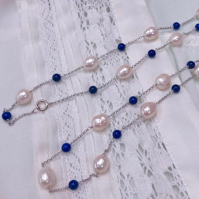Lapis and Freshwater Pearl Station Necklace in Sterling Silver Rhodium Plated Chain 34 Daily Elegant Jewelry Wholesale Price