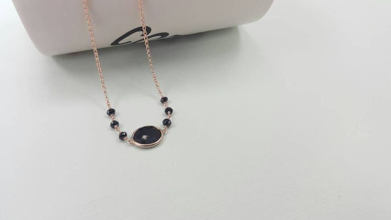 Black Spinel Station Necklace Simple Jewelry Sterling Silver Vermeil Chain Minimalist Big Stone Necklace 16 /& 2 extension