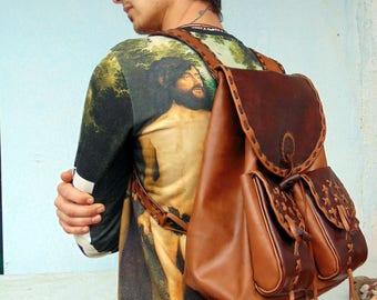 cf6faf14f31a7 Backpack.Backpacks.Handmade Leder. Land westlichen Tasche. Vintage Leder.  Reise-Gepäck. Sport. Büro. Strand. Markt. Unisex.