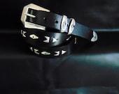 Black Sterling Silver Belt. Rockers Sterling Silver Leather Belt. Unisex. Fashion Jewellery. Office.Travel. Festival. Party. Vintage Silver.