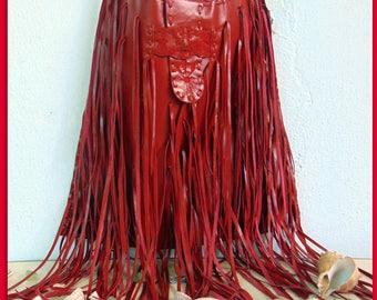 Red Crossbody LeatherBag.  Native American  Inspired.Handmade Fringes. Vintage. Shoulder. Boho. Hippy. Tribal. Beach. Fringes.Travel-luggage