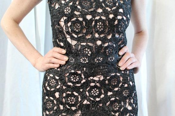 1950s black crocheted raffia wiggle dress small