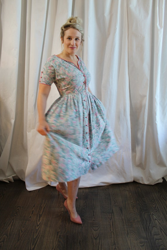 1950s Cotton Day Dress - image 2