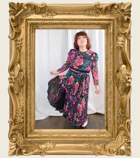 1980's Diane Freis Beaded Silk Dress - Large