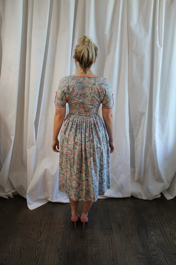 1950s Cotton Day Dress - image 5