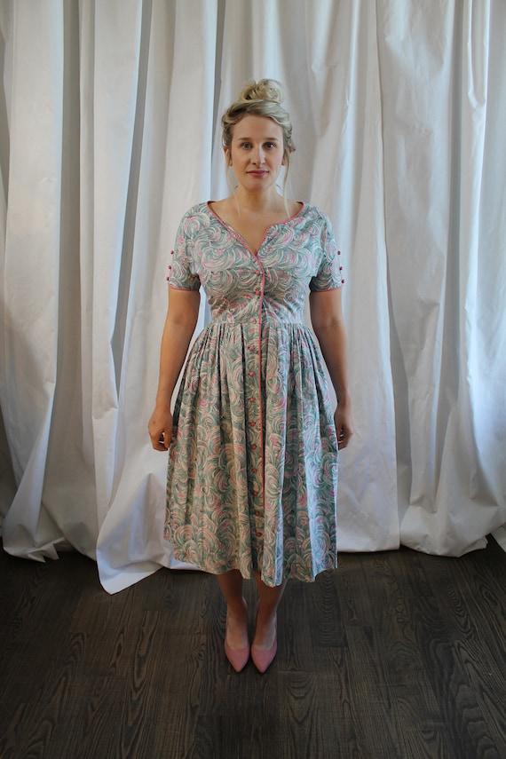 1950s Cotton Day Dress - image 3
