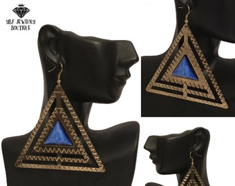 New Blue Stone Burnished Gold Tribal Triangle Dangle Earrings