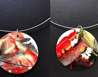 Necklace, wearable art. roriginale gift, action painting.