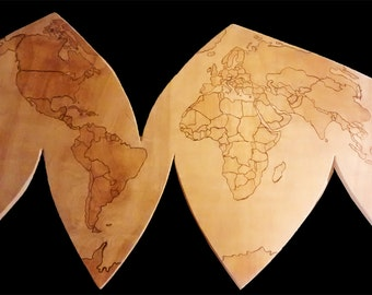 World Map. wall art. map with countries.wooden map. earth. globe. woodworking. wood burning.