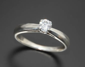 Solitaire engagement ring, Diamond engagement ring, Diamond solitaire ring, White diamond ring, Gold solitaire ring, White gold ring