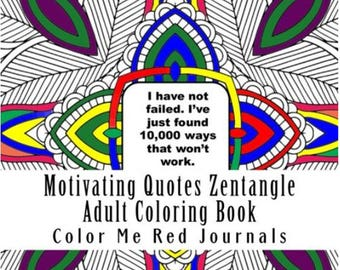 Motivating Quotes Mandala Squares Zentangle Coloring Book Journal 48 Pages Each With A Inspiring Quote