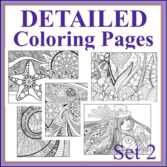 Detailed Coloring Sheets Set 2 20 Patterned Coloring Pages Etsy