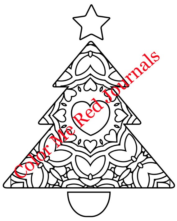 Christmas Holiday Trees Zentangle Mandala Coloring Pages Etsy