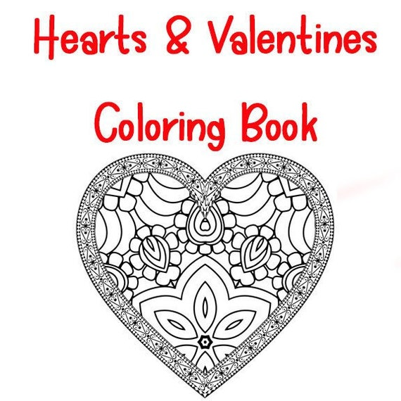 Heart And Valentine Theme Zentangle And Mandala Coloring Book Etsy
