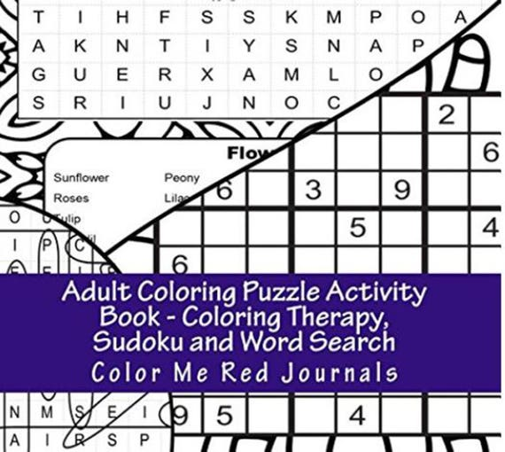 Adult Coloring Puzzle Activity Book Coloring Therapy Sudoku   Etsy