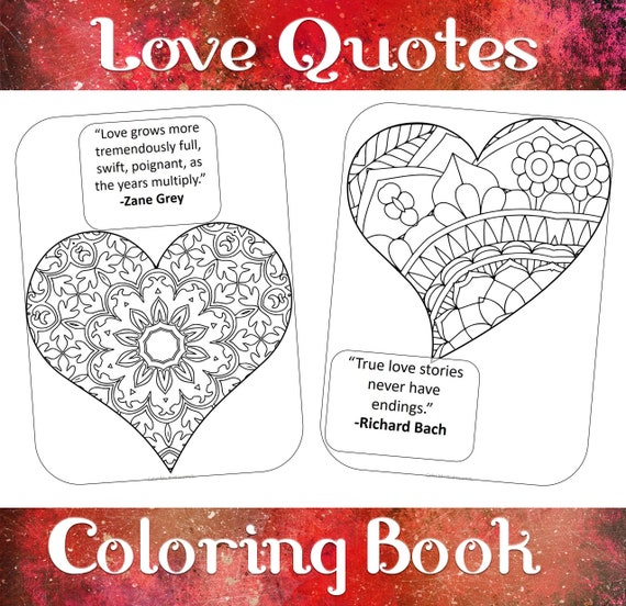 Love Quotes And Hearts Coloring Book 50 Heart Coloring Sheets Etsy