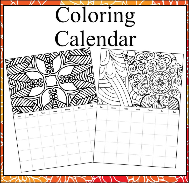 Monthly Coloring Calendars- Adult Coloring Calendar Pages, Months are not  date specific so can be used over and over