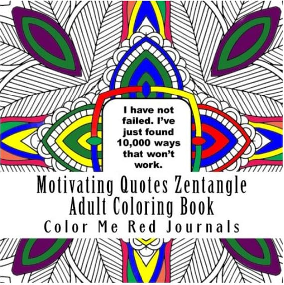 Motivating Quotes Mandala Squares Zentangle Coloring Book Journal 48 Coloring Pages Each with a Inspiring Quote