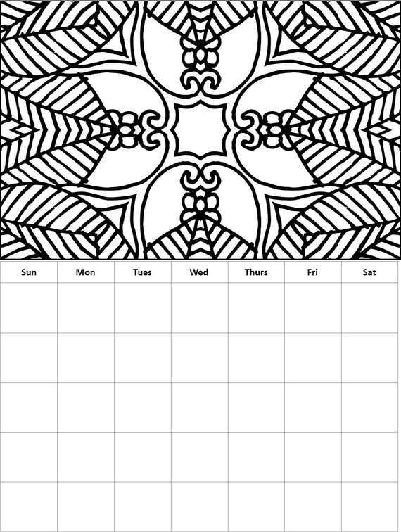 Monthly Coloring Calendars- Coloring Calendar Pages, Months are Not Date  Specific so Can Be Used Over and Over